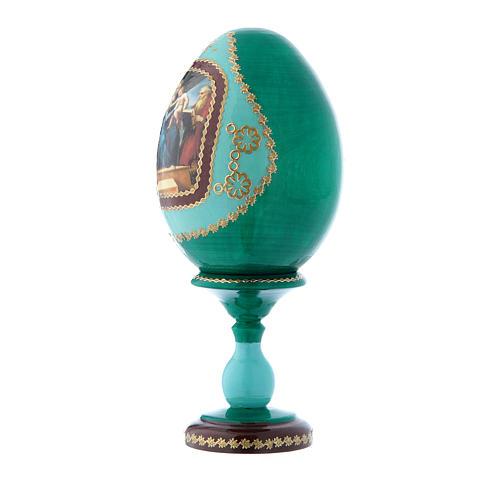 Uovo icona russa verde decorato a mano La Madonna del Pesce h tot 16 cm 2
