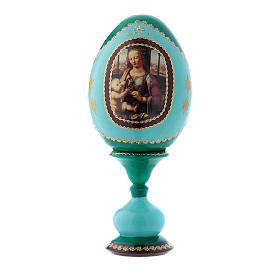 Uovo russo La Madonna col Bambino stile Fabergè verde in legno h tot 16 cm s1