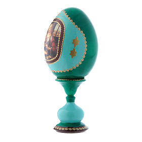 Uovo russo La Madonna col Bambino stile Fabergè verde in legno h tot 16 cm s2