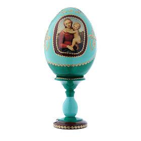 Russian Egg Small Cowper Madonna, Fabergé style, green 16 cm