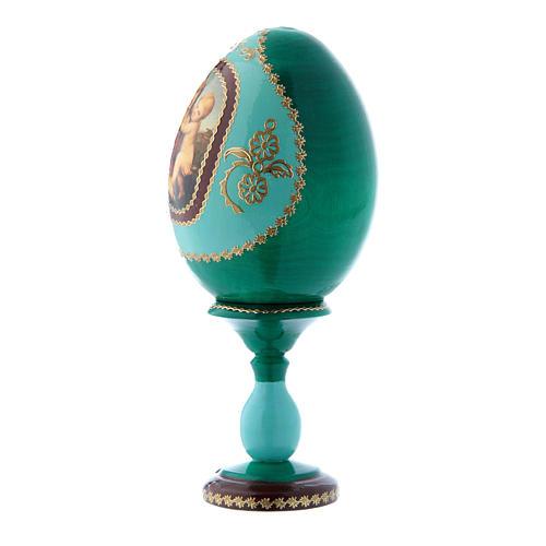 Uovo russo la Piccola Madonna Cowper verde in legno découpage h tot 16 cm 2