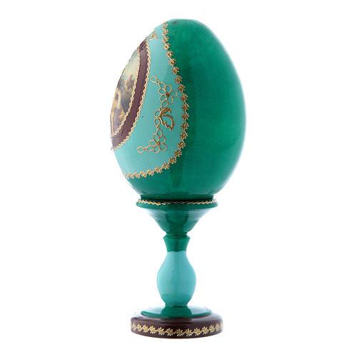 Oeuf russe style Fabergé vert en bois décoré main Vierge à l'Enfant h tot 16 cm