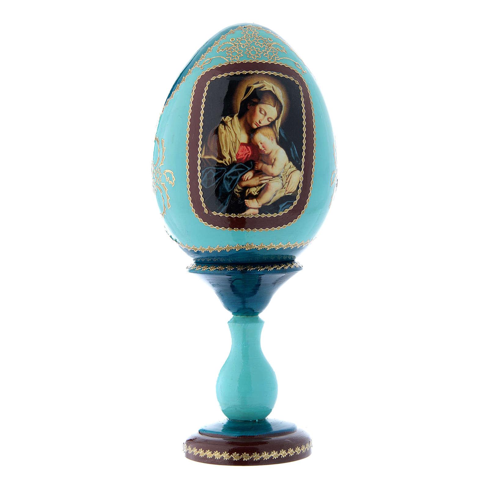Uovo icona russa in legno blu decorato a mano Madonna col Bambino h tot 20 cm 4