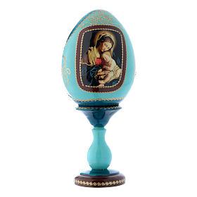 Uovo icona russa in legno blu decorato a mano Madonna col Bambino h tot 20 cm s1