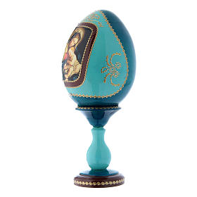 Uovo icona russa in legno blu decorato a mano Madonna col Bambino h tot 20 cm s2