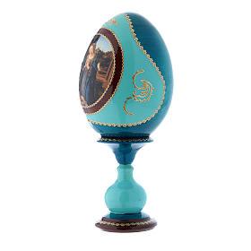 Oeuf russe bleu en bois Adoration de l'Enfant avec Saint Jean-Baptiste h tot 20 cm s2