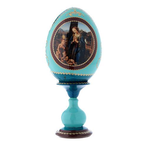 Oeuf russe bleu en bois Adoration de l'Enfant avec Saint Jean-Baptiste h tot 20 cm 1