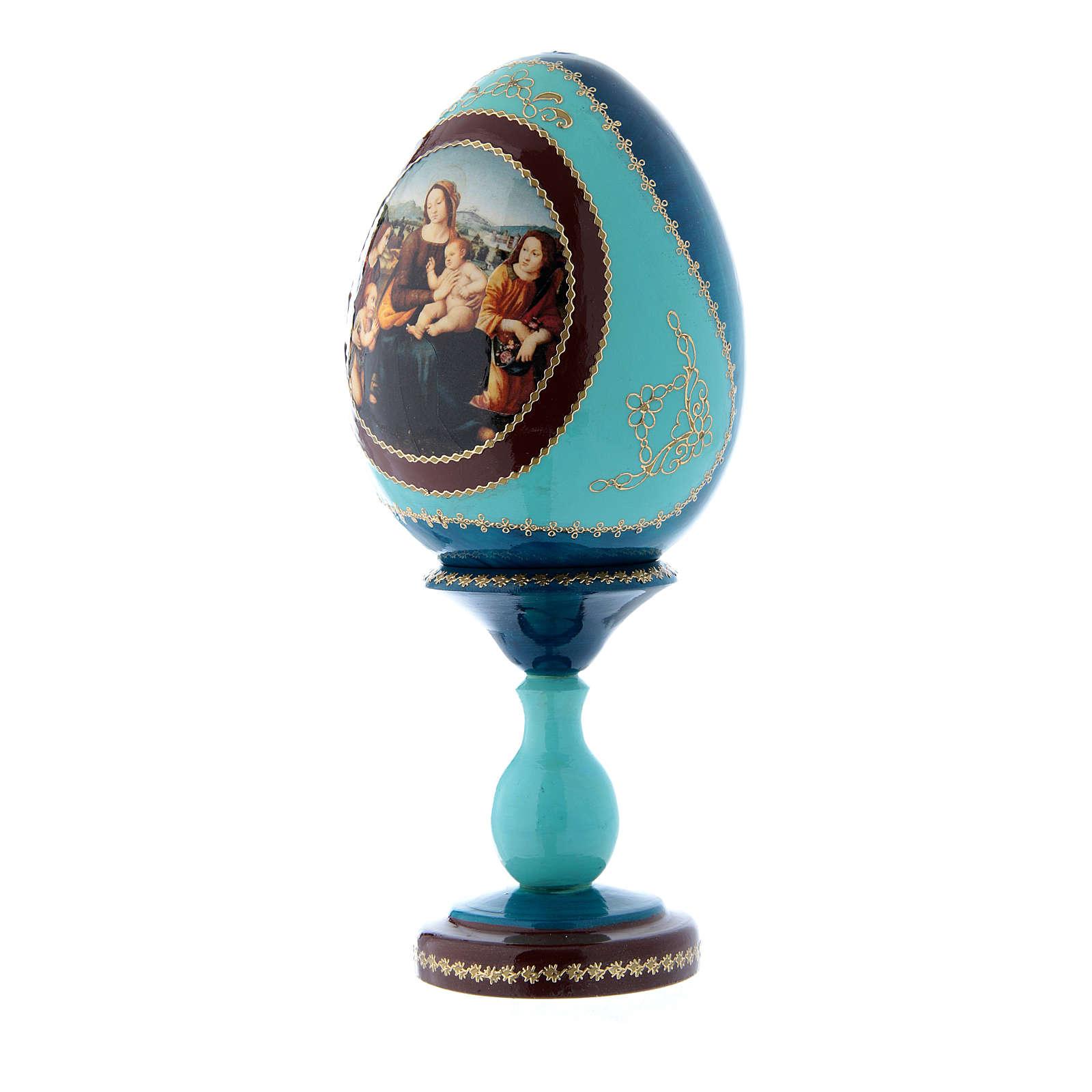 Huevo de madera azul ruso Virgen con Niño, San Juanito y Ángeles h tot 20 cm 4