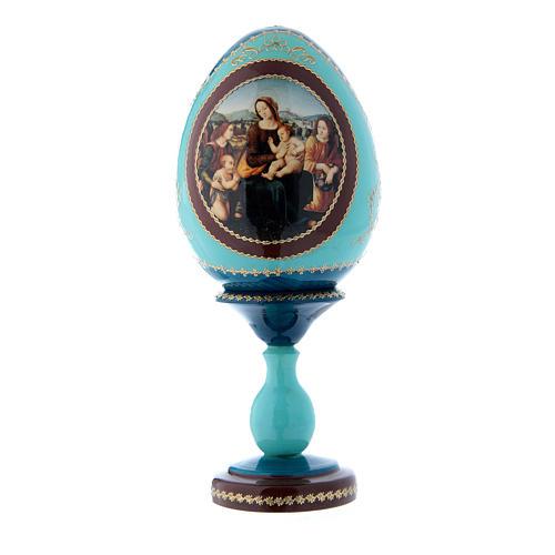Uovo in legno blu russo Madonna col Bambino, San Giovannino e Angeli h tot 20 cm 1