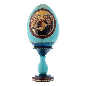 Oeuf russe La Vierge à la grenade bleu décoré main h tot 20 cm