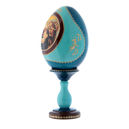 Oeuf russe La Vierge à la grenade bleu décoré main h tot 20 cm 2