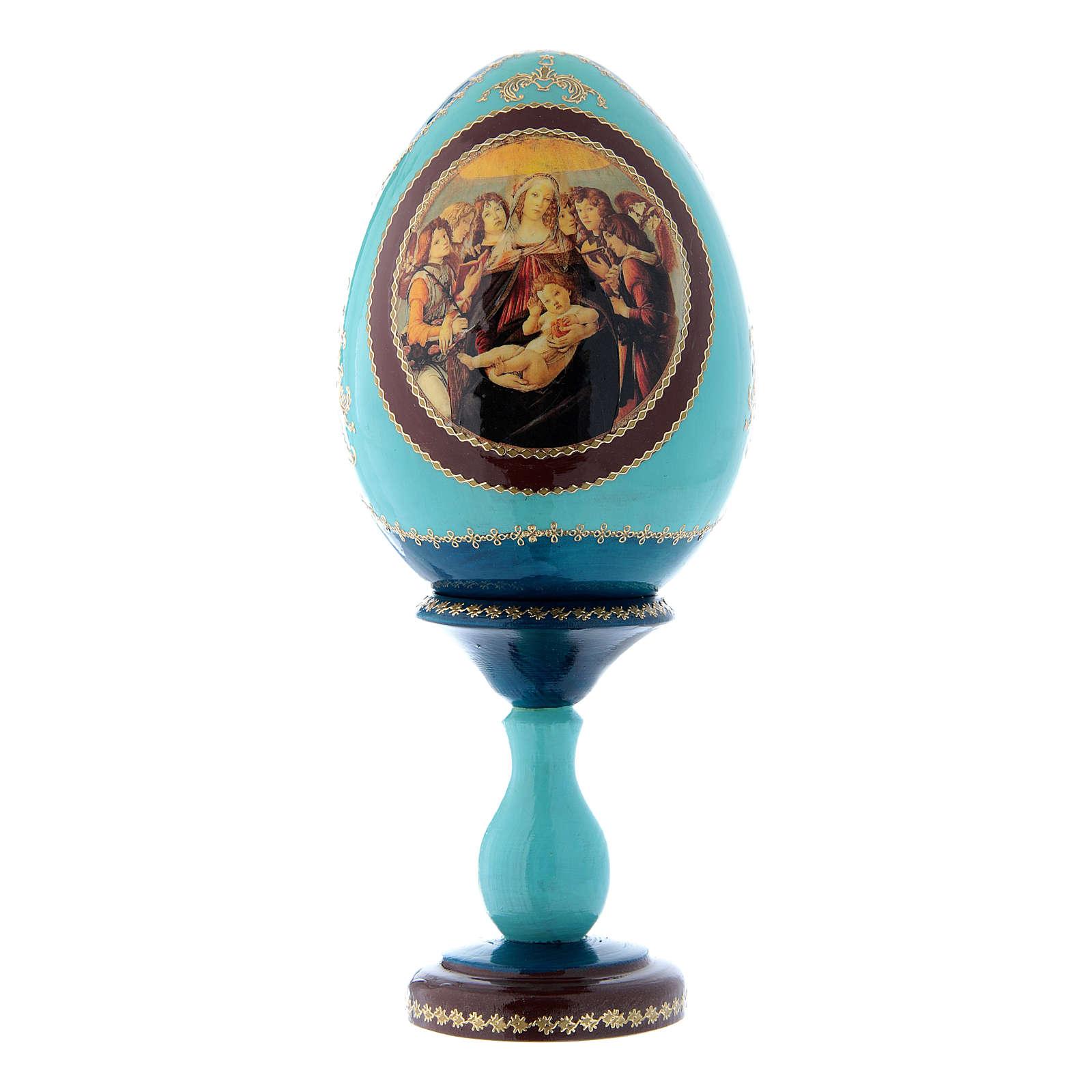 Uovo russo La Madonna della melagrana blu decorato a mano h tot 20 cm 4