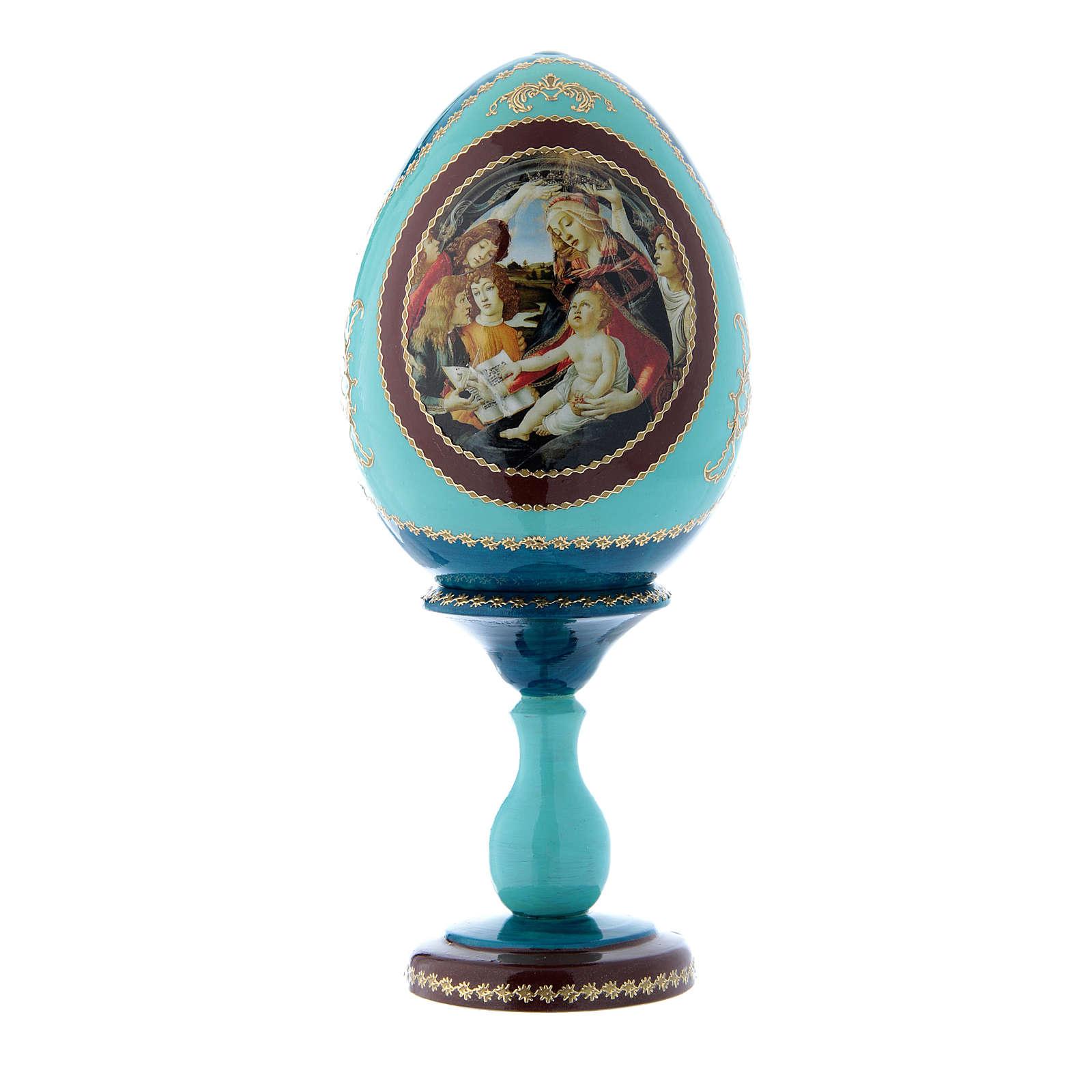 Oeuf russe style Fabergé bleu La Madone du Magnificat h tot 20 cm 4