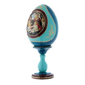 Oeuf russe style Fabergé bleu La Madone du Magnificat h tot 20 cm s2