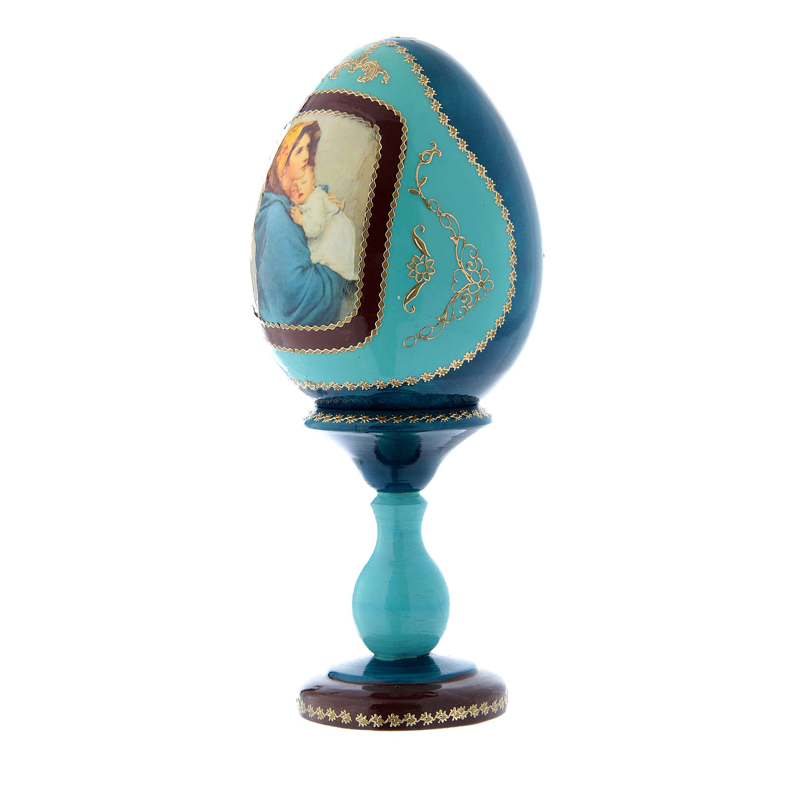 Oeuf en bois style Fabergé russe bleu La Madonnina h tot 20 cm 4