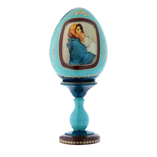 Oeuf en bois style Fabergé russe bleu La Madonnina h tot 20 cm 1