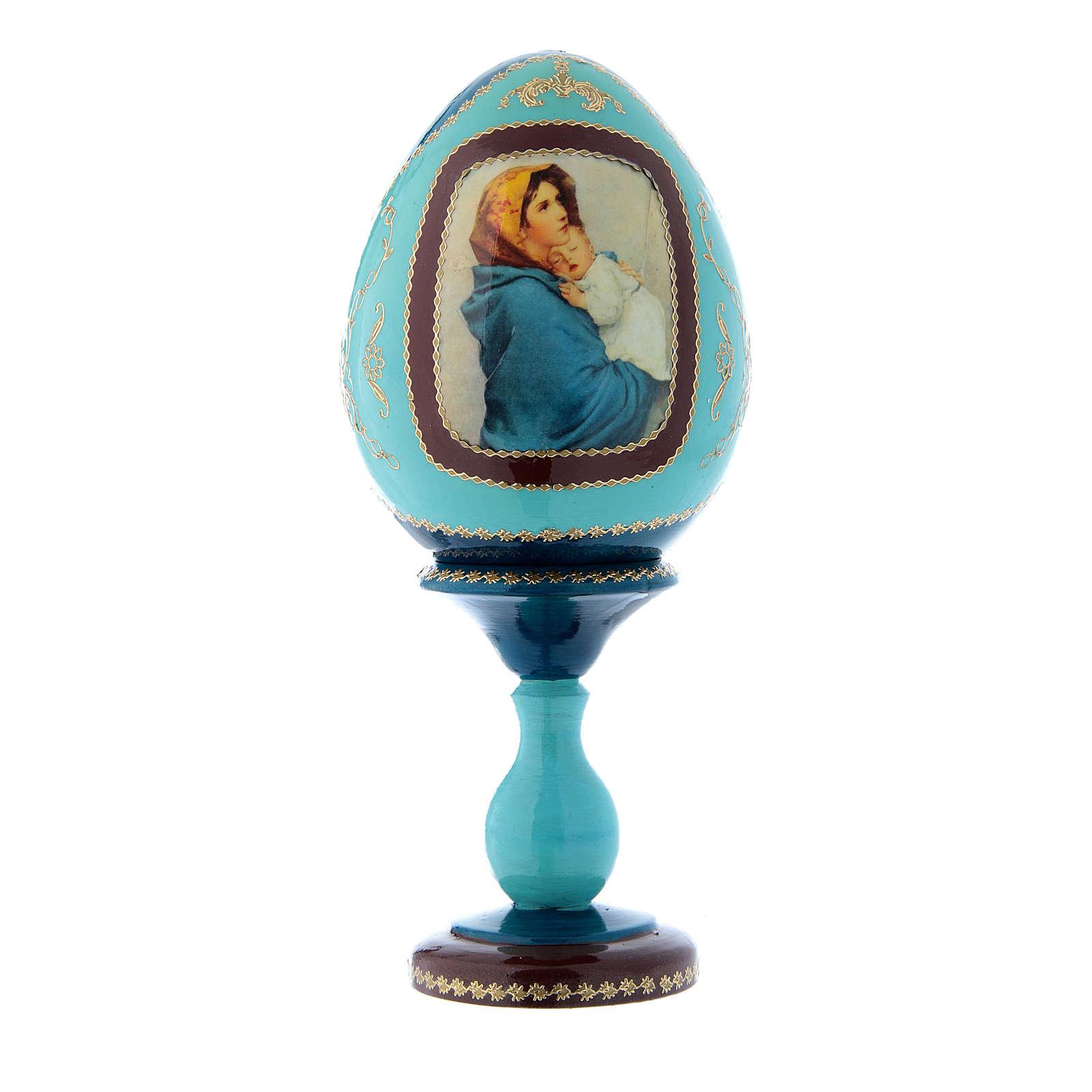 Uovo in legno stile Fabergé russo blu La Madonnina h tot 20 cm 4