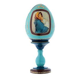 Uovo in legno stile Fabergé russo blu La Madonnina h tot 20 cm s1