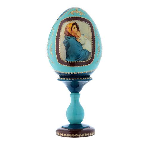 Uovo in legno stile Fabergé russo blu La Madonnina h tot 20 cm 1