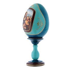 Huevo de madera azul decorado a mano La Virgen del Huso h tot 20 cm s2