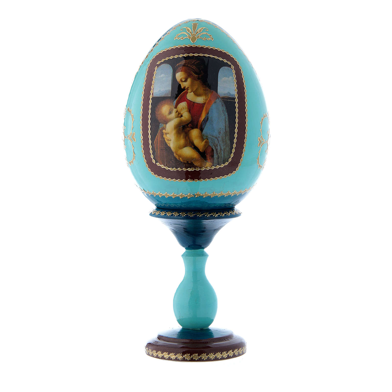 Uovo russo découpage blu La Madonna Litta h tot 20 cm 4