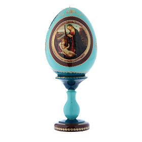 Oeuf russe Vierge à l'Enfant et Saint Jean-Baptiste bleu décoré main h tot 20 cm s1