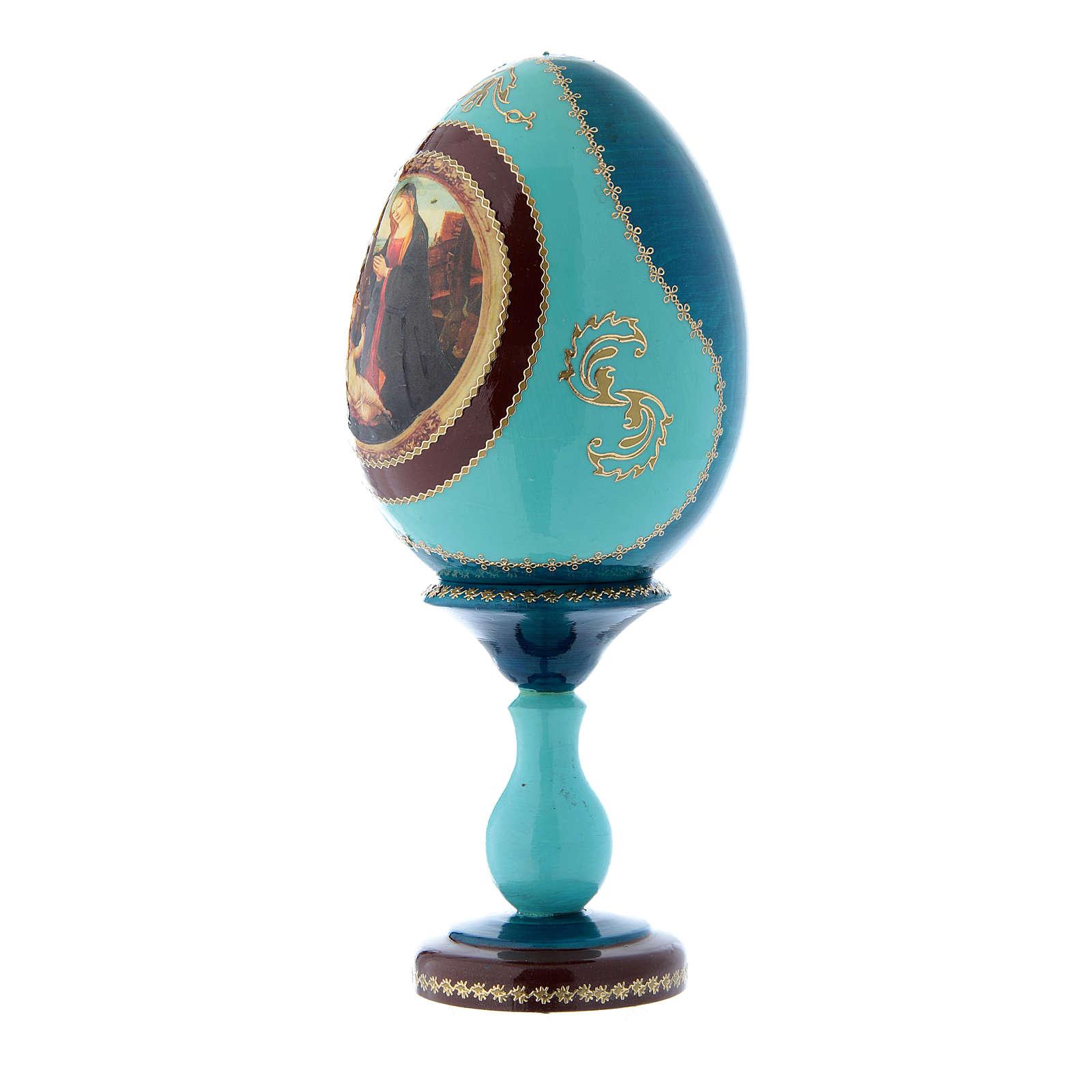 Uovo russo madonna con Bambino e San Giovannino blu decorato a mano h tot 20 cm 4