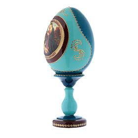 Uovo russo madonna con Bambino e San Giovannino blu decorato a mano h tot 20 cm s2