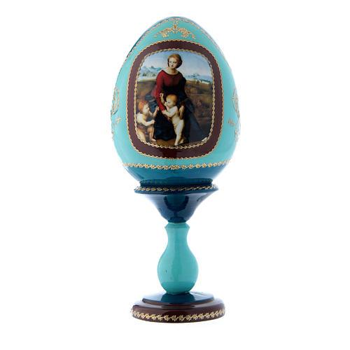 Oeuf La Madone à la prairie bleu style Fabergé russe en bois décoré main h tot 20 cm 1