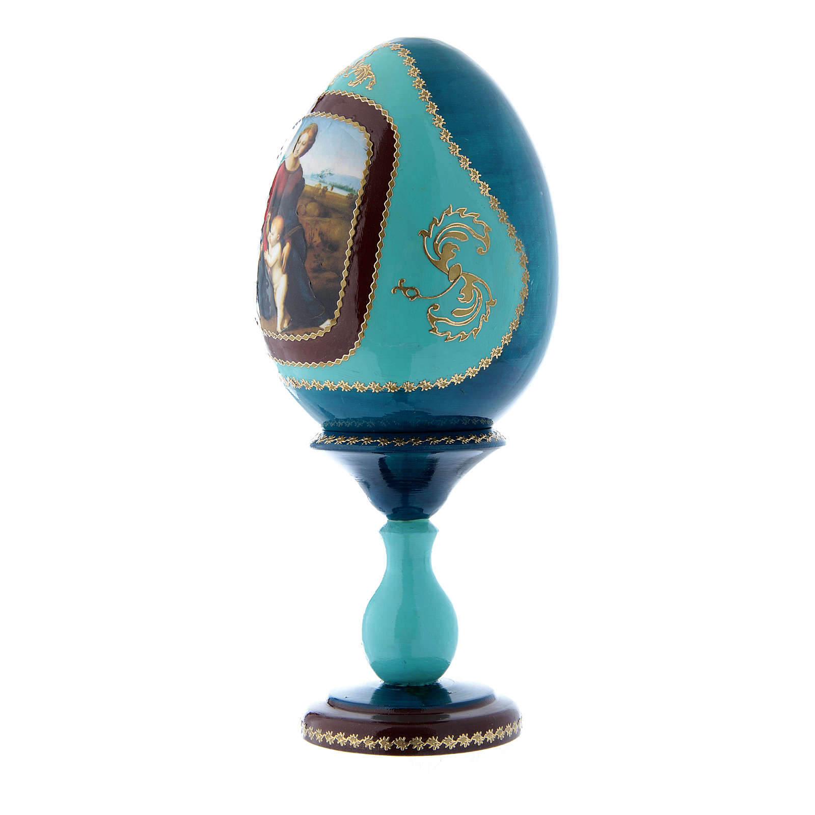 Uovo La Madonna del Belvedere blu stile Fabergé russo in legno decorato a mano h tot 20 cm 4