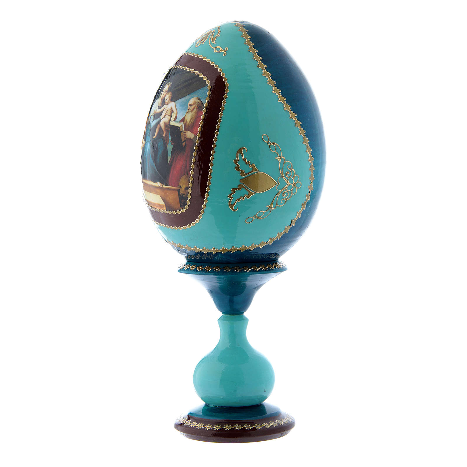 Uovo russo blu in legno La Madonna del Pesce h tot 20 cm 4