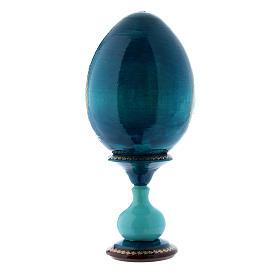 Uovo russo blu in legno La Madonna del Pesce h tot 20 cm s3