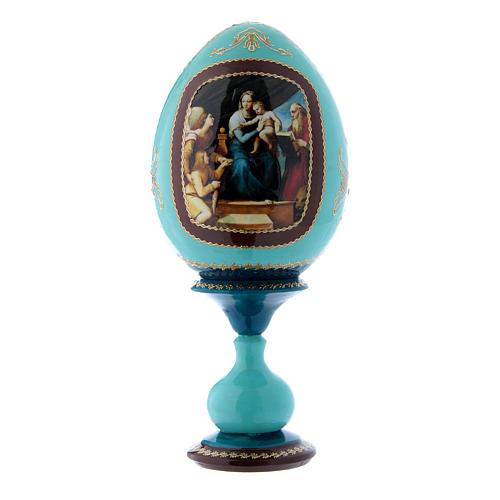Uovo russo blu in legno La Madonna del Pesce h tot 20 cm 1