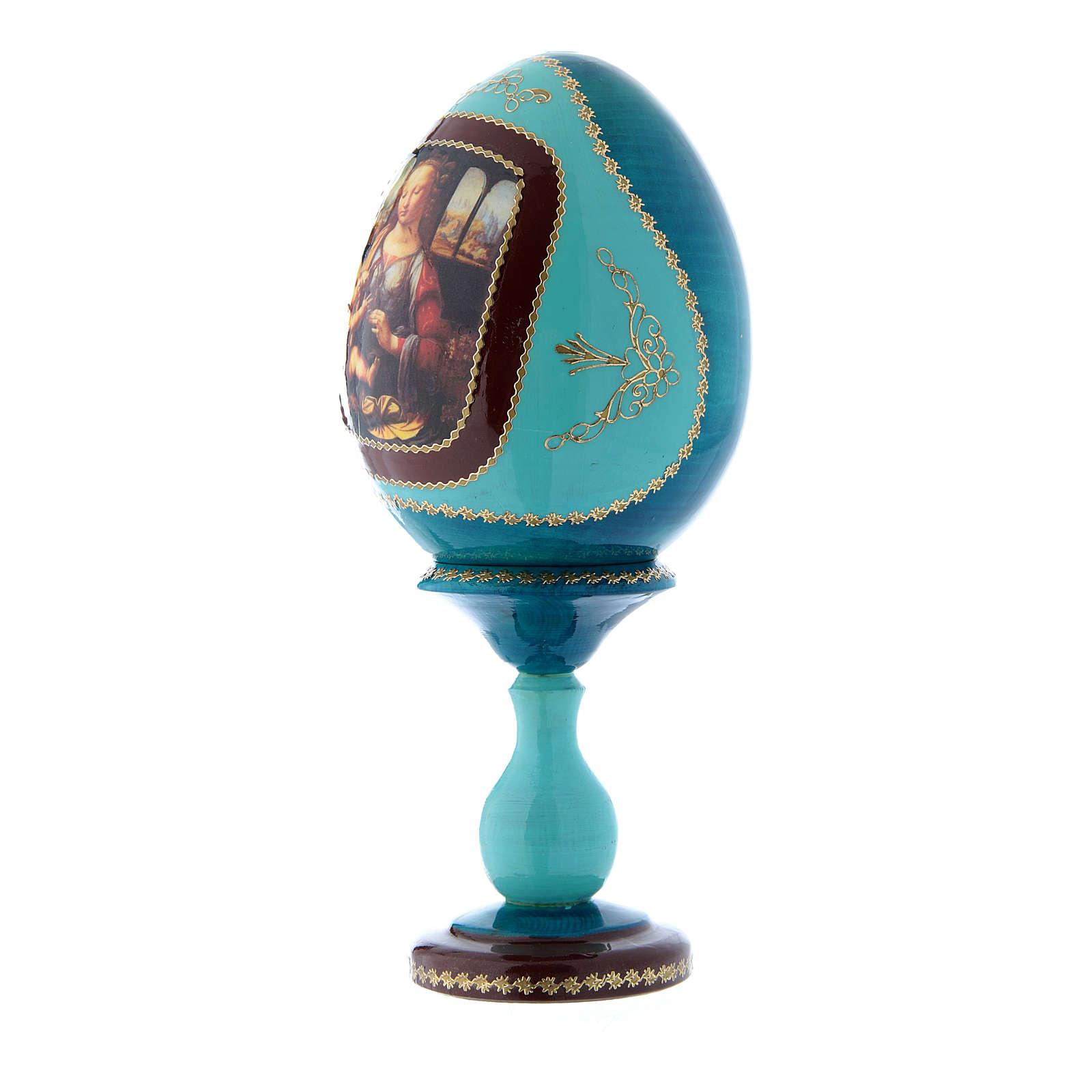 Oeuf style Fabergé La Vierge à l'oeillet bleu russe découpage h tot 20 cm 4