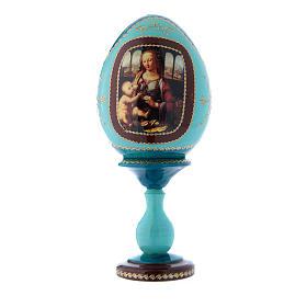 Oeuf style Fabergé La Vierge à l'oeillet bleu russe découpage h tot 20 cm s1