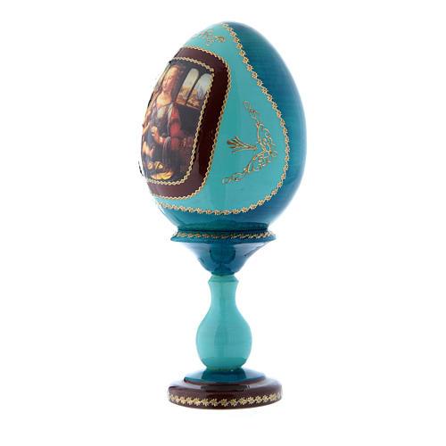 Uovo stile Fabergè La Madonna col Bambino blu russo découpage h tot 20 cm 2