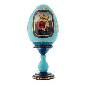 Oeuf bleu russe décoré main La Petite Madone Cowper h tot 20 cm s1