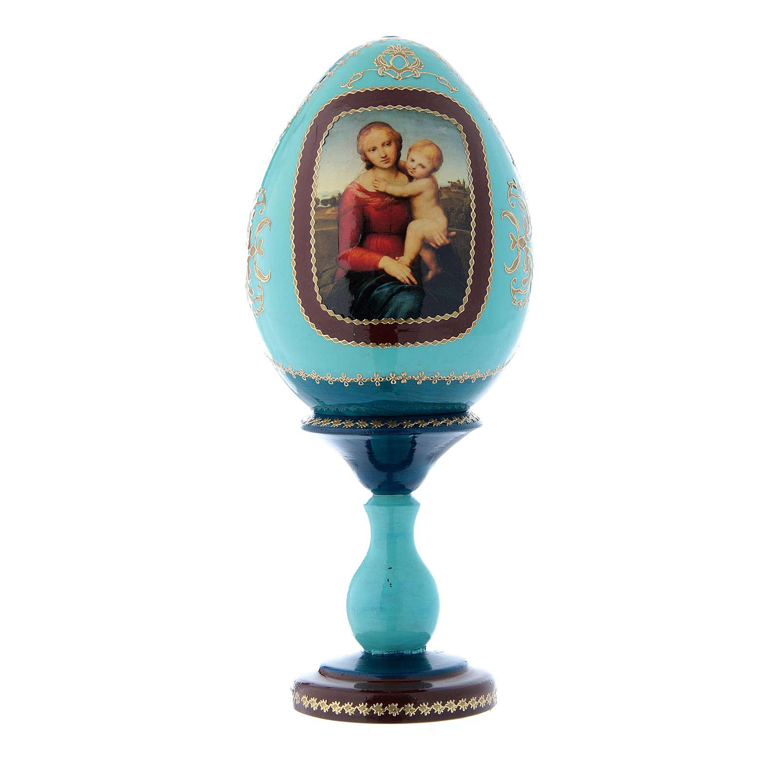 Uovo blu russo decorato a mano La Piccola Madonna Cowper h tot 20 cm 4