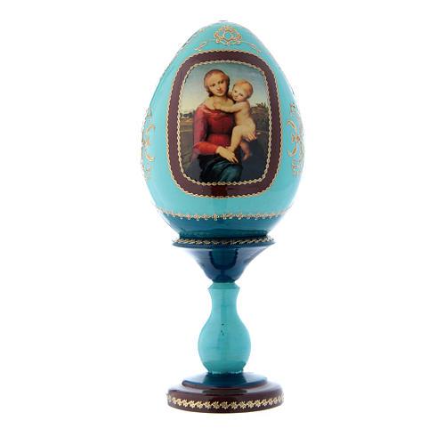 Uovo blu russo decorato a mano La Piccola Madonna Cowper h tot 20 cm 1