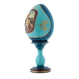 Oeuf en bois découpage bleu russe Vierge à l'Enfant h tot 20 cm s2