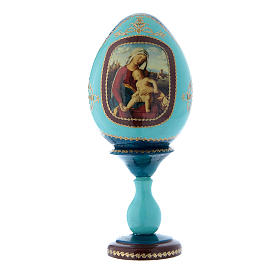 Uovo in legno découpage blu russo Madonna con Bambino h tot 20 cm s1