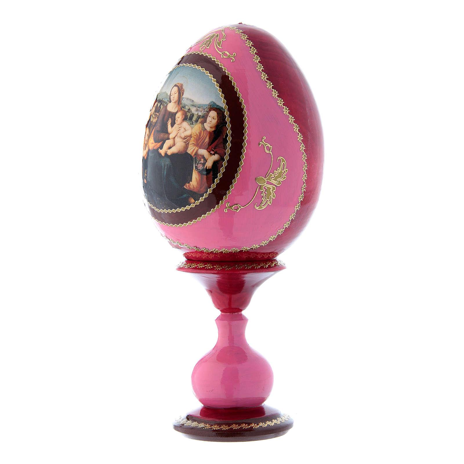 Oeuf icône russe rouge découpage Vierge à l'Enfant, Saint Jean-Baptiste et Anges h tot 20 cm 4