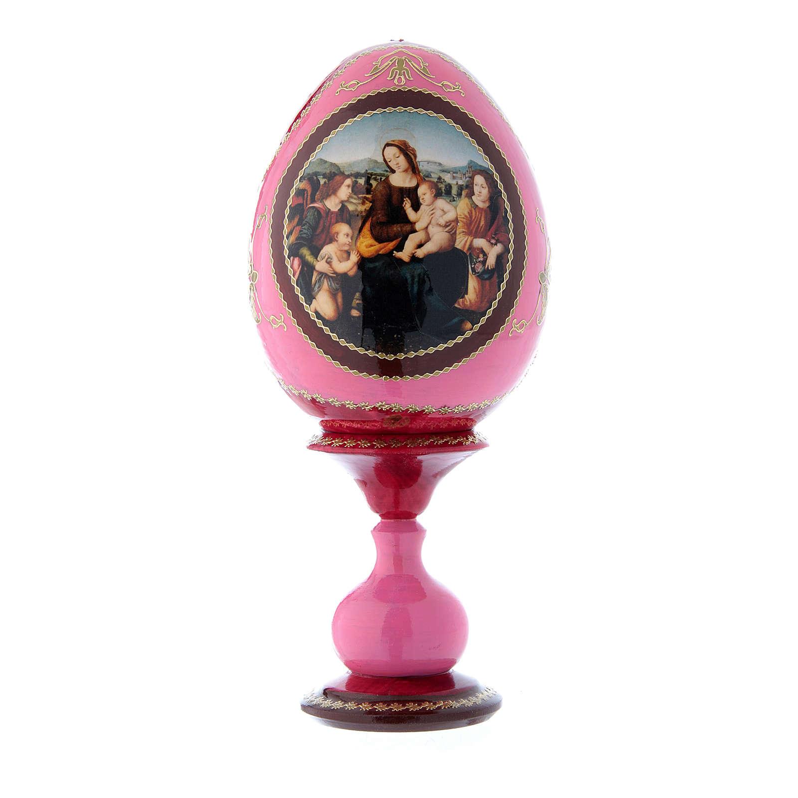 Uovo icona russa rossa découpage Madonna col bambino, San Giovannino e Angeli h tot 20 cm 4