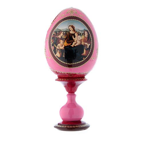 Uovo icona russa rossa découpage Madonna col bambino, San Giovannino e Angeli h tot 20 cm 1
