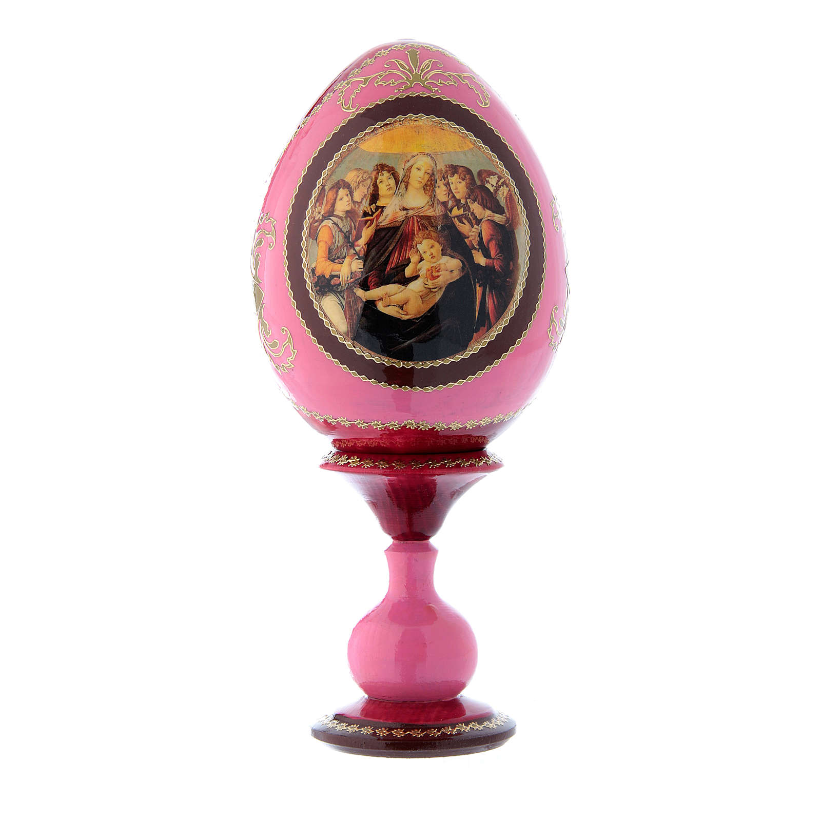 Oeuf style Fabergé rouge russe La Vierge à la grenade h tot 20 cm 4