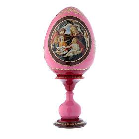 Oeuf rouge en bois russe découpage La Madone du Magnificat h tot 20 cm s1