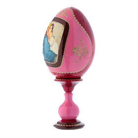 Oeuf russe décoré main en bois rouge La Madonnina h tot 20 cm s2