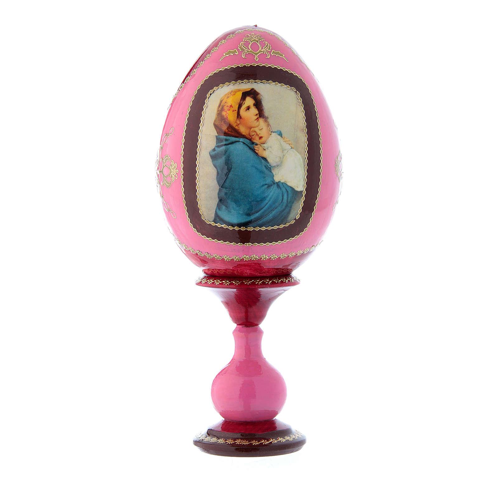 Uovo russo decorato a mano in legno rosso La Madonnina h tot 20 cm 4