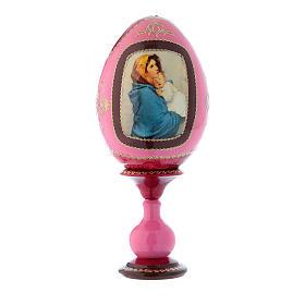 Uovo russo decorato a mano in legno rosso La Madonnina h tot 20 cm s1