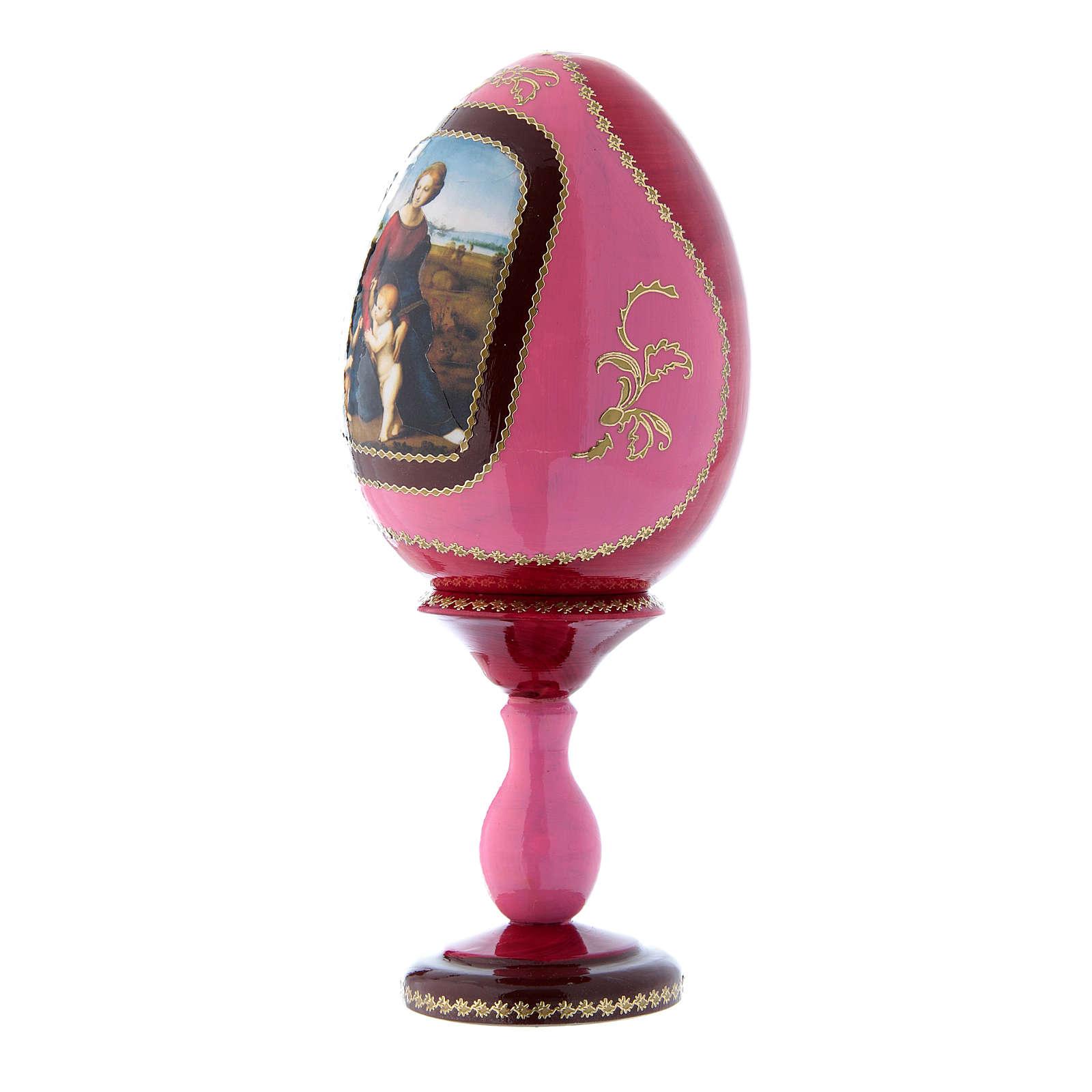 Oeuf en bois rouge russe style Fabergé La Madone à la prairie h tot 20 cm 4